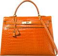 Luxury Accessories:Bags, Hermes 35cm Shiny Orange H Porosus Crocodile Sellier Kelly Bag withGold Hardware. B Square, 1998. Very Good Condition. 14...