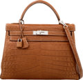 Luxury Accessories:Bags, Hermes 32cm Matte Fauve Nilo Crocodile Retourne Kelly Bag ...