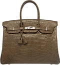 Luxury Accessories:Bags, Hermes 35cm Matte Gris Elephant Alligator Birkin Bag with PalladiumHardware. Q Square, 2013. Excellent Condition. ...