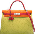 Luxury Accessories:Bags, Hermes Special Order 35cm Vert Anis, Tangerine & Rouge VifOstrich Sellier Kelly Bag with Palladium Hardware. K Square,20...
