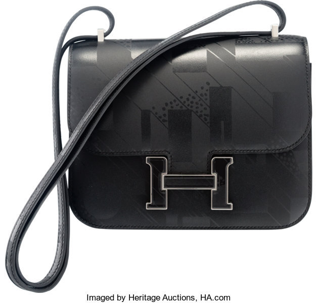 3867c58d7e ... Luxury Accessories:Bags, Hermes Limited Edition 18cm Black Imprime Sombrero  Leather On ASummer Night ...