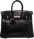 "Luxury Accessories:Bags, Hermes 25cm Shiny Black Nilo Crocodile Birkin Bag with Palladium Hardware. L Square, 2008. Excellent Condition. 10"" Width ..."
