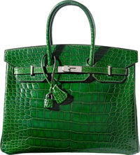 Hermes 35cm Shiny Vert Emerald Alligator Birkin Bag with Palladium Hardware D Square, 2000 Very G