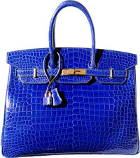 Hermes 35cm Shiny Blue Electric Porosus Crocodile Birkin Bag with Gold Hardware R Square, 2014 Ex