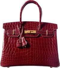 Hermes 30cm Shiny Bourgogne Nilo Crocodile Birkin Bag with Gold Hardware R Square, 2014 Pristine Condition