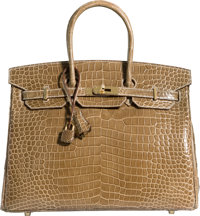 Hermes 35cm Shiny Ficelle Porosus Crocodile Birkin Bag with Gold Hardware T, 2015 Pristine Condit