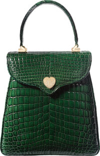 Lana Marks Custom One-of-a-Kind Forest Green Crocodile Princess Diana Bag with Diamond Heart Clasp Handset in 18K Yellow...