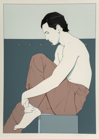 Patrick Nagel (American, 1945-1984) Portrait of a Man Screenprint in colors 34 x 24-1/2 inches (8