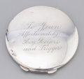 Silver Smalls:Other , A Roy Rogers-Presented Silver Lady's Compact, mid-20th century.Marks: STERLING. 3-1/2 inches diameter (8.9 cm). 3.92 tr...