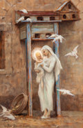 Fine Art - Painting, European, Virginie Elodie Demont-Breton (French, 1859-1935). Study for LeColombier d'Isa. Oil on panel. 18-1/...