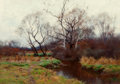 Fine Art - Painting, American:Antique  (Pre 1900), William Merritt Post (American, 1856-1935). Autumn at theCreek. Oil on canvas. 14-1/4 x 20 inches (36.2 x 50.8 cm).Sig...