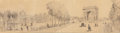 Fine Art - Work on Paper:Drawing, Charles Fichot (French, 1817-1903). Avenue desChamps-Élysées. Pencil on paper. 7 x 24-7/8 inches (17.8 x 63.2cm) (sigh...