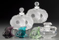 Art Glass:Lalique, Six Lalique Colored and Clear Glass Smalls, late 20th century.Marks: Lalique, France. 3-1/2 inches high (8.9 cm) (talle...(Total: 6 Items)