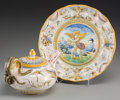 Ceramics & Porcelain, Continental:Other , A Cantagalli Renaissance Revival Majolica Plate and Teapot, late19th century. Marks to plate: (cockerel). 8-1/2 inches diam...(Total: 2 Items)