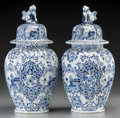 Ceramics & Porcelain, Continental:Other , A Pair of Dutch Delftware Chinoiserie Blue and White Tin-GlazedCeramic Jars. 13-1/4 inches high (33.7 cm)... (Total: 2 Items)