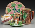 Ceramics & Porcelain, Five English and American Majolica Wares, late 19th-early 20th centuries. 9-1/4 inches diameter (23.5 cm) (largest, plate). ... (Total: 5 Items)