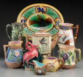 Ceramics & Porcelain, British:Other , Nine Various American and English Majolica Wares, late 19th-early20th centuries. 10-1/8 inches high x 12-1/8 inches wide (2...(Total: 9 Items)