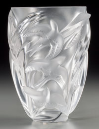 A Lalique Clear and Frosted Glass Martinets Vase, post-1945 Marks: Lalique, Fr