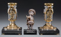 Decorative Arts, Continental:Other , A Pair of Frank Meisler Shabbat Candlesticks and Silver RebYankel Figure, late 20th century. Marks to figure: ... (Total:3 Items)