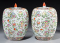 Asian:Chinese, A Pair of Chinese Export Famille Rose Porcelain Covered Jars. Marks: Qianlong seal in red underglaze and of a later period. ... (Total: 2 Items)
