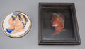 Decorative Arts, Continental:Other , A Framed Wax Portrait of Napoleon I with Related Ceramic Roundel,19th century. 8 inches high x 6-1/2 inches wide (20.3 x 16...(Total: 2 Items)