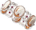 Estate Jewelry:Bracelets, Shell Cameo, Ruby, White Gold Bracelet. ...