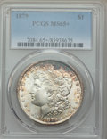 Morgan Dollars: , 1879 $1 MS65+ PCGS. PCGS Population: (1217/216 and 57/46+). NGC Census: (671/78 and 20/4+). CDN: $600 Whsle. Bid for proble...
