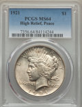 Peace Dollars, 1921 $1 High Relief MS64 PCGS. PCGS Population: (4437/1600). NGCCensus: (3561/1301). CDN: $710 Whsle. Bid for problem-free...