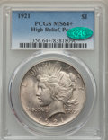 Peace Dollars, 1921 $1 MS64+ PCGS. CAC. PCGS Population: (4437/1600 and 167/41+).NGC Census: (3561/1301 and 75/42+). CDN: $710 Whsle. Bid...