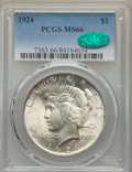 Peace Dollars: , 1924 $1 MS66 PCGS. CAC. PCGS Population: (731/35). NGC Census:(1300/88). CDN: $380 Whsle. Bid for problem-free NGC/PCGS MS...