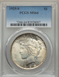 Peace Dollars: , 1925-S $1 MS64 PCGS. PCGS Population: (2003/41). NGC Census:(1602/67). CDN: $575 Whsle. Bid for problem-free NGC/PCGS MS64...