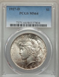 Peace Dollars: , 1927-D $1 MS64 PCGS. PCGS Population: (1276/191). NGC Census:(758/79). CDN: $930 Whsle. Bid for problem-free NGC/PCGS MS64...