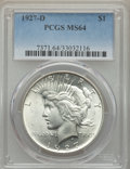 Peace Dollars: , 1927-D $1 MS64 PCGS. PCGS Population: (1270/191). NGC Census:(758/79). CDN: $930 Whsle. Bid for problem-free NGC/PCGS MS64...