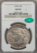 Peace Dollars: , 1934-S $1 AU55+ NGC. CAC. NGC Census: (389/1732 and 0/20+). PCGSPopulation: (491/2723 and 0/83+). CDN: $475 Whsle. Bid for...