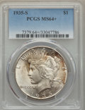 Peace Dollars: , 1935-S $1 MS64+ PCGS. PCGS Population: (1606/919 and 114/61+). NGCCensus: (912/472 and 12/5+). CDN: $550 Whsle. Bid for pr...