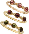 Estate Jewelry:Bracelets, Tourmaline, Diamond, Gold Bracelets. ... (Total: 3 Items)