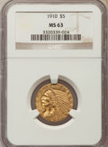 Indian Half Eagles: , 1910 $5 MS63 NGC. NGC Census: (997/337). PCGS Population:(654/267). CDN: $800 Whsle. Bid for problem-free NGC/PCGS MS63.M...