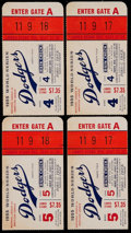 Baseball Collectibles:Tickets, 1955 World Series Game 4 & 5 Ticket Stubs (4)....