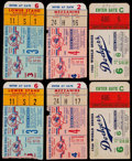 Baseball Collectibles:Tickets, 1956 World Series Game 3, 4 and 6 Ticket Stubs Lot of 6....