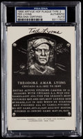 Autographs:Post Cards, 1956-63 Ted Lyons Signed Artvue Hall of Fame Plaque PostcardPSA/DNA Authentic....