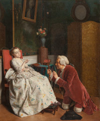 Jean Alphonse Roehn (French, 1799-1864) La Supplique Oil on panel 18 x 14.75 in. Signed lower