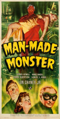 "Movie Posters:Horror, Man Made Monster (Universal, 1941). Three Sheet (40.25"" X 79.75"")....."