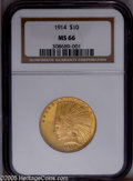 Indian Eagles: , 1914 $10 MS66 NGC. An unsung condition rarity among P-mint IndianEagles, the 1914 is more challenging to locate in the fin...