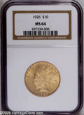 Indian Eagles: , 1926 $10 MS64 NGC. While Double Eagles were struck annually atPhiladelphia during the 1920s, Eagles were only struck at th...