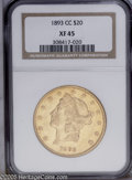 1893-CC $20 XF45 NGC. Sharper than the assigned grade and with traces of remaining luster, and a few marks have collecte...