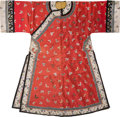 Asian:Chinese, A Chinese Embroidered Red Silk Butterfly Robe. 55 incheshigh (flat, middle of collar to lower hem) (139.7 cm). ...