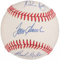 Autographs:Baseballs, Tom Seaver, Nolan Ryan, & Bob Feller Multi-Signed Baseball. ...