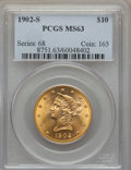 Liberty Eagles: , 1902-S $10 MS63 PCGS. PCGS Population: (848/669). NGC Census: (1016/750). CDN: $700 Whsle. Bid for problem-free NGC/PCGS MS...
