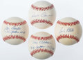 Autographs:Baseballs, New York Yankees Greats Single Signed Baseball Quartet (4)....