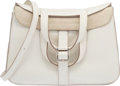 Luxury Accessories:Bags, Hermes 31cm White Clemence Leather Halzan Bag with Palladi...